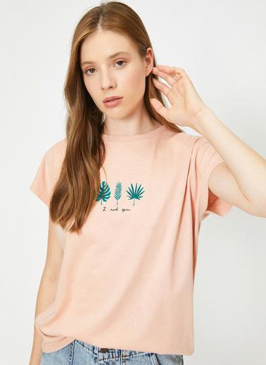Koton Yazili Baskili T-Shirt Pembe